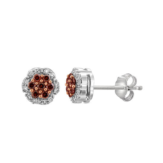 1/4 CT. T.W. White & Color-Enhanced Red Diamond Cluster Sterling Silver Earrings