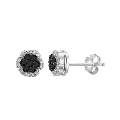 1/4 CT. T.W. White & Color-Enhanced Black Diamond Cluster Sterling Silver Earrings