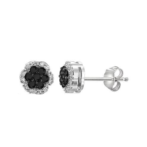 1/4 CT. T.W. White & Color-Enhanced Black Diamond Cluster Sterling Silver Earrings