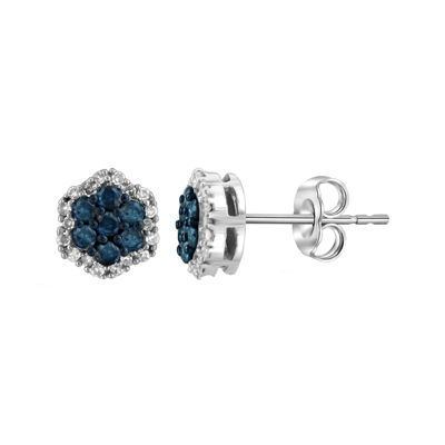 1/2 CT. T.W. White & Color-Enhanced Blue Diamond Cluster Sterling Silver Earrings
