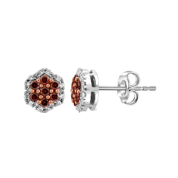 1/2 CT. T.W. White & Color-Enhanced Red Diamond Cluster Sterling Silver Earrings