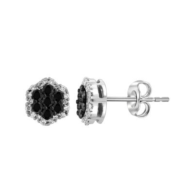 1/2 CT. T.W. White & Color-Enhanced Black Diamond Cluster Sterling Silver Earrings