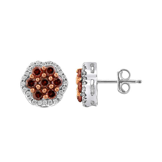 1 CT. T.W. White & Color-Enhanced Red Diamond Cluster Sterling Silver Earrings
