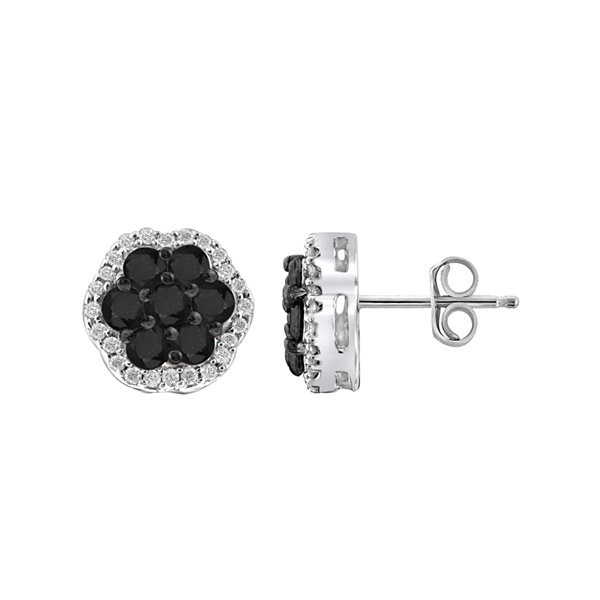 1 CT. T.W. White & Color-Enhanced Black Diamond Cluster Sterling Silver Earrings