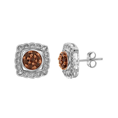 1/3 CT. T.W. White & Color-Enhanced Red Diamond Sterling Silver Earrings