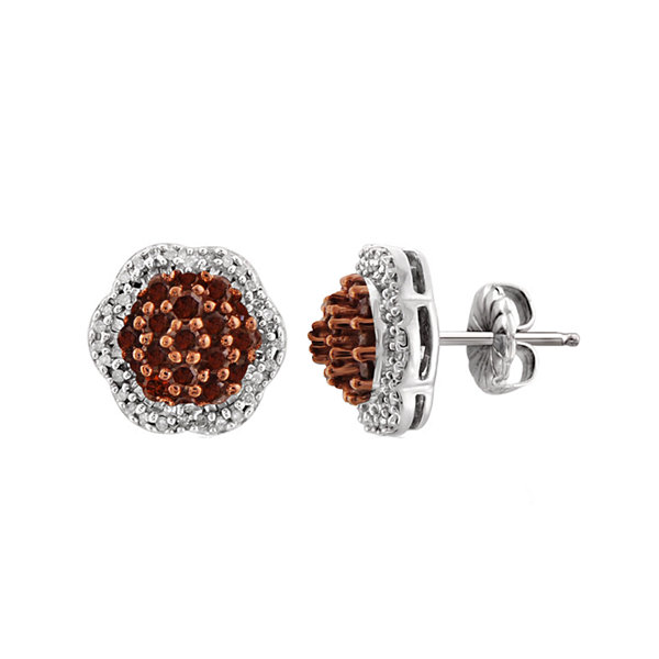 1 CT. T.W. White & Color-Enhanced Red Diamond Sterling Silver Stud Earrings