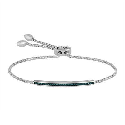 1/10 CT. T.W. Color-Enhanced Blue Diamond Sterling Silver Bolo Bracelet