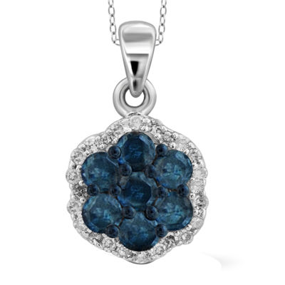 1/4 CT. T.W. White & Color-Enhanced Blue Diamond Cluster Sterling Silver Pendant