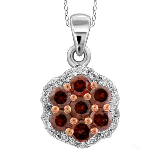 1/4 CT. T.W. White & Color-Enhanced Red Diamond Cluster Sterling Silver Pendant