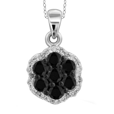 1/4 CT. T.W. White & Color-Enhanced Black Diamond Cluster Sterling Silver Pendant