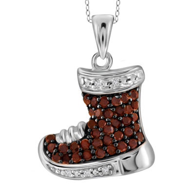 1/7 CT. T.W. Color-Enhanced Red Diamond Sterling Silver Shoe Pendant