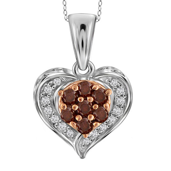 1/4 CT. T.W. White & Color-Enhanced Red Diamond Sterling Silver Heart Pendant