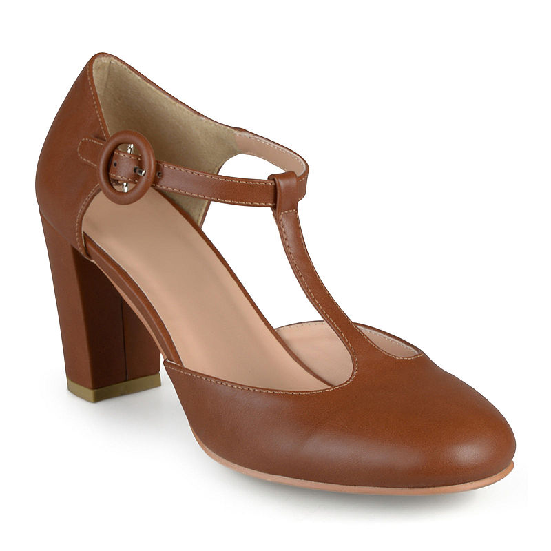 1920s Style Shoes Journee Collection Talie T-Strap Pumps Size 8 12 Medium Womens Brown $42.49 AT vintagedancer.com
