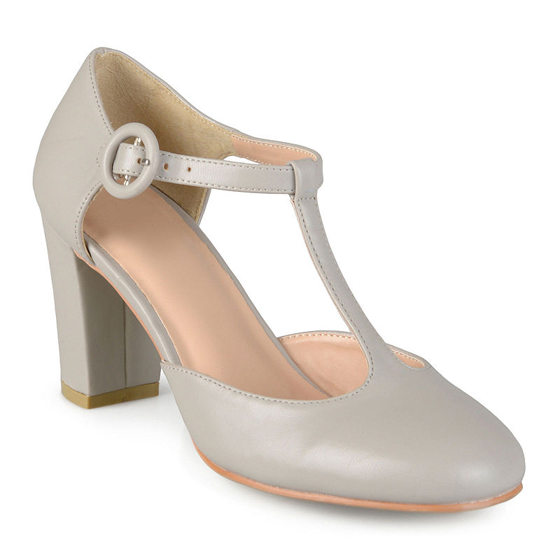 1920s Style Shoes Journee Collection Talie T-Strap Pumps Size 6 Medium Womens Gray $42.49 AT vintagedancer.com