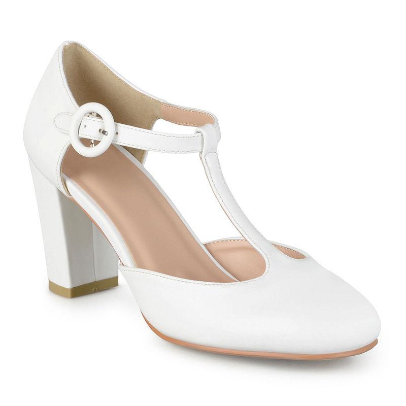 1920s Style Shoes Journee Collection Talie T-Strap Pumps Size 11 Medium Womens White $42.49 AT vintagedancer.com