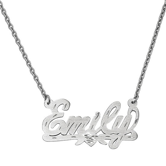 Personalized 21x36mm  Diamond-Cut Scroll Name Necklace