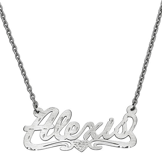 Personalized 16x40mm Diamond-Cut Scroll Name Necklace