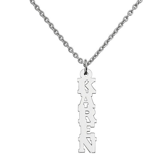 Personalized 24x7mm Vertical Name Pendant Necklace