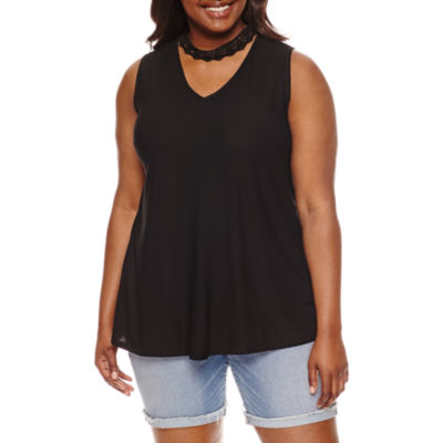 by&by Sleeveless V Neck Crepe Blouse-Juniors Plus