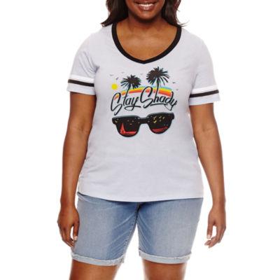 """Stay shady"" Graphic T-Shirt- Juniors Plus"