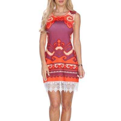 White Mark Fleur Sleeveless Sheath Dress