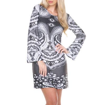 White Mark Eleanor Long Sleeve Paisley Sheath Dress