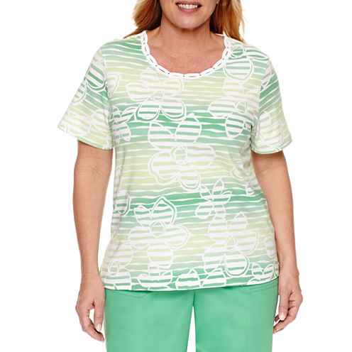 Alfred Dunner Short Sleeve Crew Neck Floral T-Shirt-Womens Plus