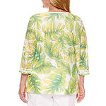 Alfred Dunner-Plus Womens Split Crew Neck 3/4 Sleeve Tunic Top