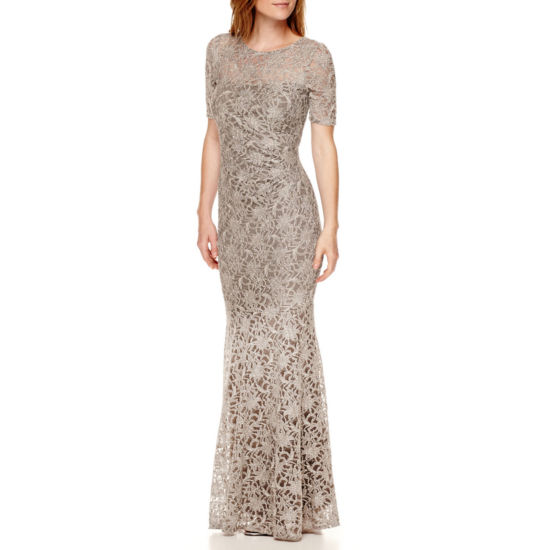 One By Eight Short Sleeve Lace Evening Gown