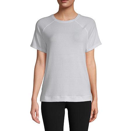 St. John's Bay-Womens Round Neck Short Sleeve T-Shirt, Large , White