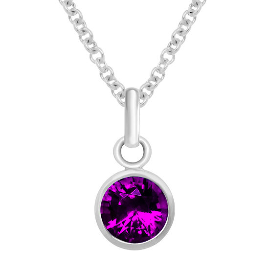 Itsy Bitsy February Birthstone Made With Swarovski Crystal Crystal Sterling Silver 18 Inch Cable Pendant Necklace
