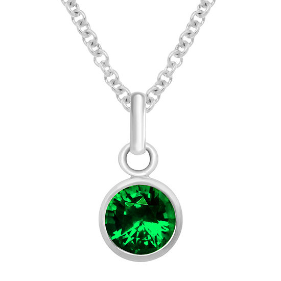 Itsy Bitsy May Birthstone Made With Swarovski Crystal Crystal Sterling Silver 18 Inch Cable Pendant Necklace