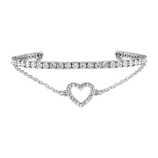 Sparkle Allure Duo Cuff Cubic Zirconia 6 Inch Cable Heart Cuff Bracelet