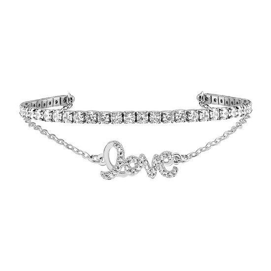 Sparkle Allure Love Duo Cuff Cubic Zirconia 6 Inch Cable Cuff Bracelet