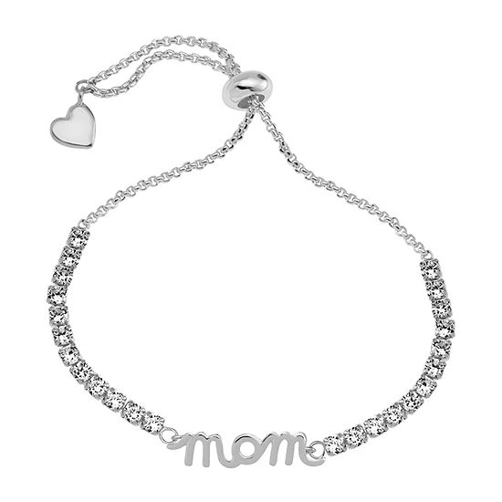 Sparkle Allure Mom Cubic Zirconia 6 Inch Box Heart Bolo Bracelet