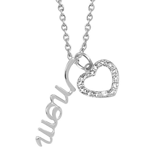 Sparkle Allure Mom Cubic Zirconia Pure Silver Over Brass 18 Inch Link Heart Pendant Necklace