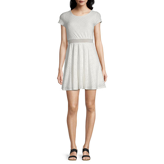 My Michelle-Juniors Short Sleeve Fit & Flare Dress