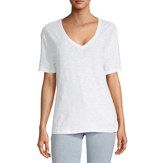 Arizona Womens V Neck Short Sleeve T-Shirt - Juniors