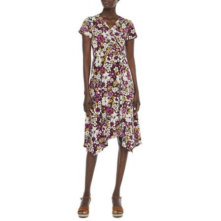 1930s Dresses | 30s Art Deco Dress Perceptions Short Sleeve Floral Puff Print Midi Fit  Flare Dress X-large  Red $31.99 AT vintagedancer.com