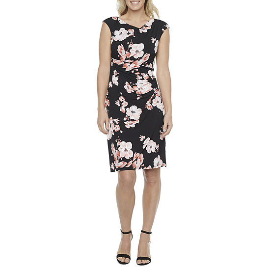 Connected Apparel Sleeveless Floral Puff Print Sheath Dress