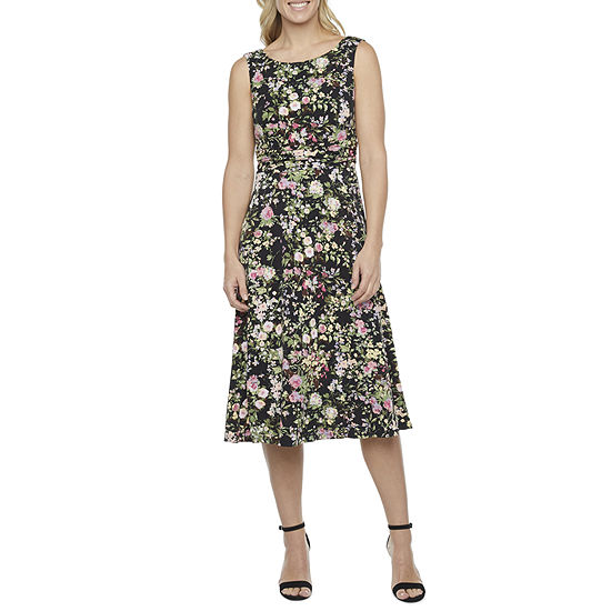 Connected Apparel Sleeveless Floral Midi Fit & Flare Dress