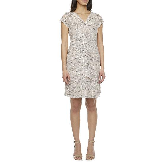 Scarlett Short Sleeve Sequin Lace Sheath Dress