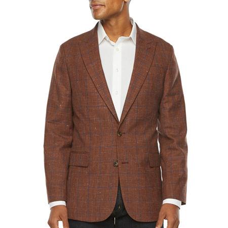 1950s Mens Suits & Sport Coats   50s Suits & Blazers Stafford Mens Windowpane Stretch Classic Fit Sport Coat 44 Regular Brown $71.99 AT vintagedancer.com
