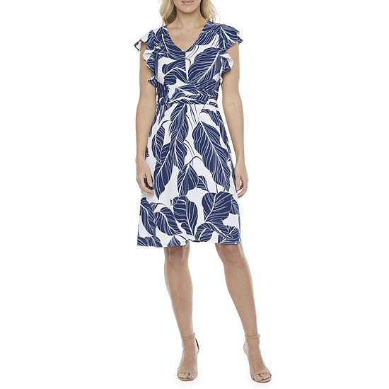 Liz Claiborne Short Sleeve Leaf A-Line Dress