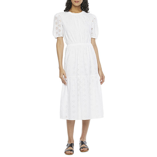 a.n.a Short Sleeve Midi Peasant Dress