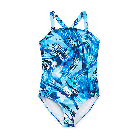 Peyton & Parker Family Swim Little & Big Girls Tie Dye One Piece Swimsuit, Xx-small (4-5) , Blue