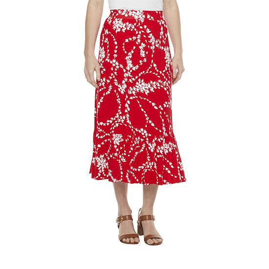 St. John's Bay Womens Midi Tiered Skirt