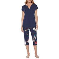 Liz Claiborne Womens 2-pc. Capri Pajama Set Short Sleeve V-Neck
