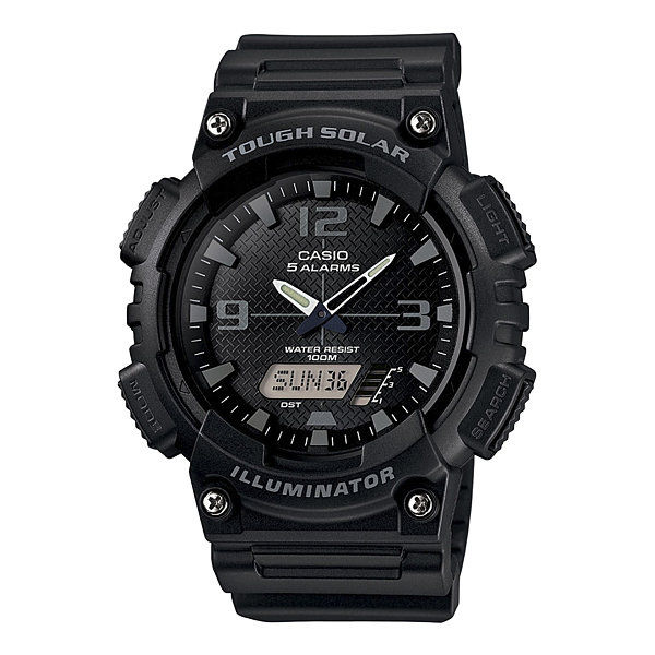 Casio® Mens Black Dial Black Resin Strap Solar Sport Watch AQ-S810W-1A2