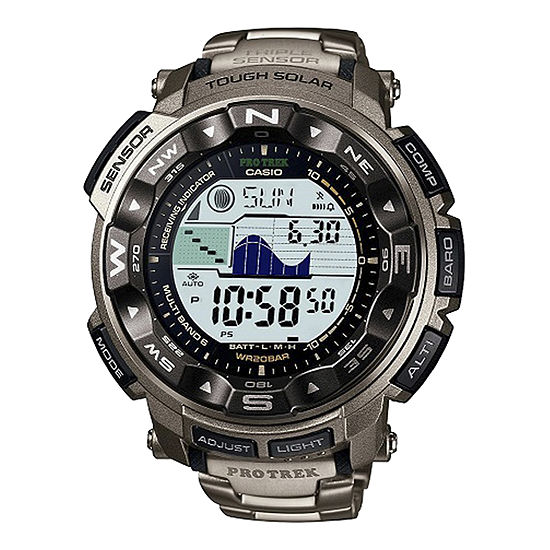 Casio Mens Chronograph Multi-Function Atomic Time Gray Bracelet Watch-Prw2500t-7cr